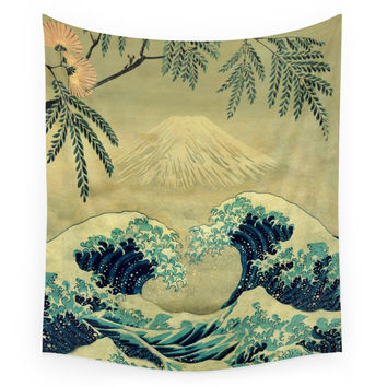 Society6 The Great Blue Embrace At Yama Wall Tapestry