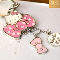 Z70-D Adorable Hello Kitty & Pink Bow Charms Keychain Key Ring