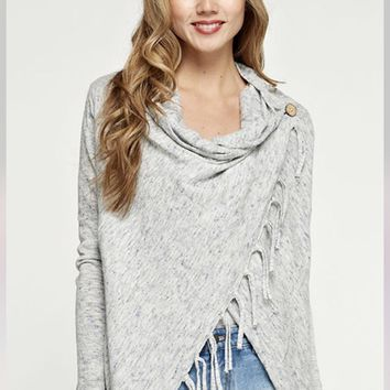 Carys Grey or Cream Fringe Sweater