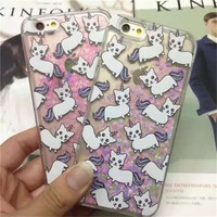 New Arrivel Dynamic Bling Cute Unicorn Cat Liquid Quicksand Star Glitter Funda Cover for iPhone 6 6s Plus Case Coque Free ship