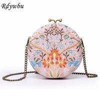 Rdywbu Round Cotton Linen Embroidere Circular Gray Flower Women Metal Clutches Handbags Ladies Wedding Party Cheongsam Bag H51
