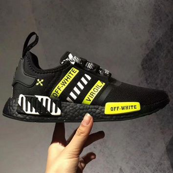 Adidas NMD R1 Reflective shoelace Fashion Casual Running Sports Shoes For Women and Men Black Yellow
