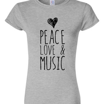 Peace Love And MUSIC Fashion Ladies Printed T-Shirt Fun Styles & Designs Ladies Fashion Graphic MUSIC Lovers  t-shirt