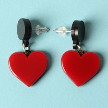 Two Tone Layered Heart Shaped Dangle Earring
