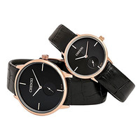 Fq-035 Simple Style Seperated Second Hand Dail Black Ultrathin His and Hers Wrist Watches Set of 2 Golden