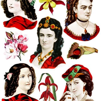 Victorian women in red flowers clipart die cuts collage sheet digital graphics image download printables for cards, tags, decoupage etc..