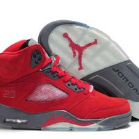 Cheap Air Jordan 5 Retro Metallic Silver Red Gray Shoes
