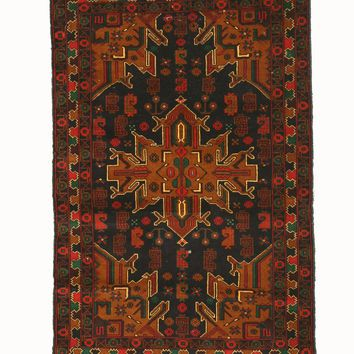 EORC Hand-knotted Wool Blue Traditional Geometric Baluchi Rug
