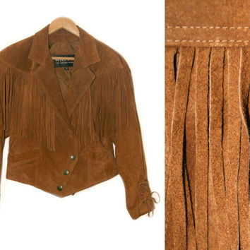 Vintage Leather Fringe Jacket~Size Medium~70s 80s 90s Boho Western Brown Tan Tie Button Jacket~By Wilsons The Leather Experts