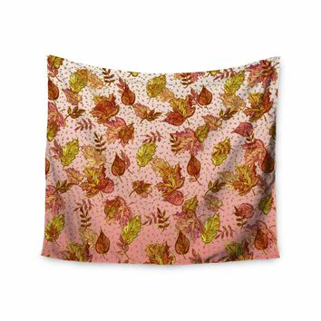 "Ebi Emporium ""AUTUMN OMBRE, PINK GREEN"" Pink,Green,Nature,Pattern,Watercolor,Mixed Media Wall Tapestry"