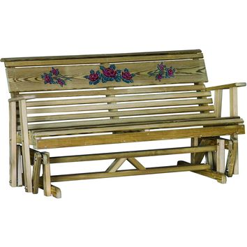 LuxCraft 5ft. Rollback Rose Treated Outdoor Glider