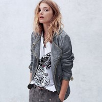 Free People Slouched and Quilted Motorcycle Jacket