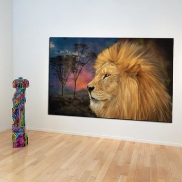 DPARTISAN Big cats colorful lions head print  Wall Art Canvas Painting Wall Picture For office Room Decoration No Frame painting