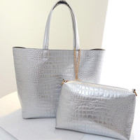 Mint Metallic Crocodile Pattern Tote