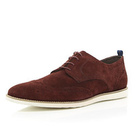 River Island MensRed suede lace up brogues