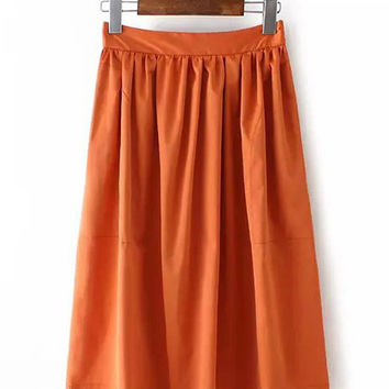 Casual High Waist Pleated Skirt