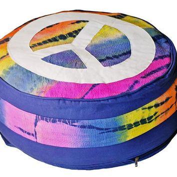 Yoga Meditation Bohemian Tie Dye Peace Sign Pouf