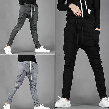 2014 Spring Summer New Men's Casual Trousers Fashion Narrow Feet Drop Crotch Pants Mens Hip Hop Harem Sweatpants 25