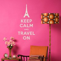 Keep Calm and Travel On Wall Decal