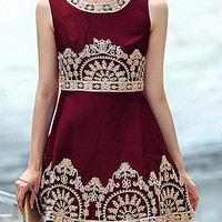 Wine Red Sleeveless Embroidered High Waist A-Line Mini Dress
