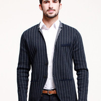 Dark Blue Stripe Long-Sleeve Shrt