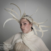 Headpiece with off white feathers Wedding fascinator or feather collar Headdress for bride Tribal fusion Burning man headband