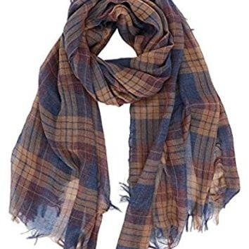 7 Seas Republic Women's Plaid Basic Fringed Scarf