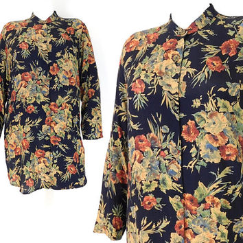 Vintage 90s Floral Tunic Top - Sz 12 Women's Carole Little Black Rayon Flower Print Oversized Long Button Up Blouse - Size Large -Long FLowy