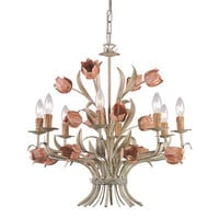 Southport Collection Sage Green Wrought Iron Chandelier
