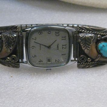 Southwestern Sterling Silver Men's Turquoise Watch Tips & Claws, Timex Watch, Heavy