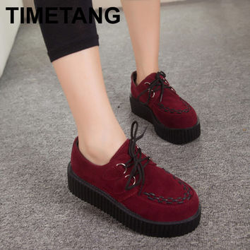 Autumn Creepers Platform Shoes Woman Flats Female Womens Girl Footwear Women Black Wine Red Thick Flat Heel Slip Soft Shoe