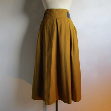Designer 80s Wool Pleated Skirt Marcella Priaui Yellow Ochre 1980s Wide Pleat Designer Skirt Lrg