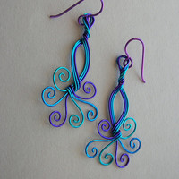 Peacock wire swirl earrings -- Turquoise/Blue/Purple Wire, Spiral Tails, Blue Niobium Ear Wires
