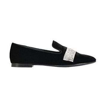 GIUSEPPE ZANOTTI DESIGN WOMEN'S I6611376571 BLACK VELVET LOAFERS