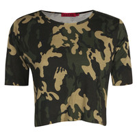 Faith Camo Boxy Crop Tee