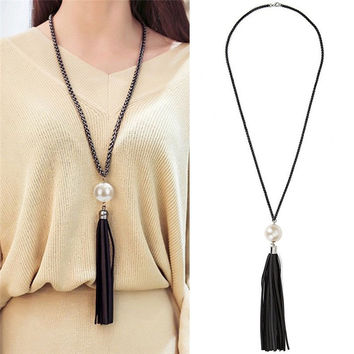 Fashion Vintage Leather Big Simulated Pearl Pendant Necklace Long Tassel Chain for Women Charm Jewelry Accessories