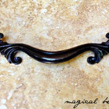 French Provincial Pull in Dark Brass by Keeler Brass Co / Authentic Vintage Hardware, Decorative Furniture Handle, Drawer pulls