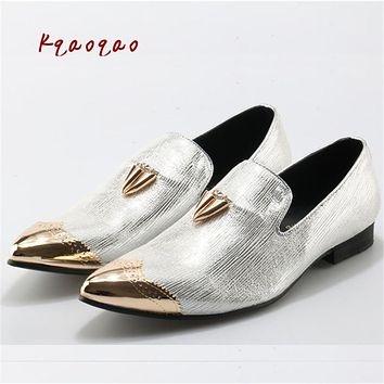 Metal Toe Chunky Heels High Quality Male Loafers Hot Sale Mens Shallow Slip On Creepers Men Shoes Bling Party Zapatillas Hombre