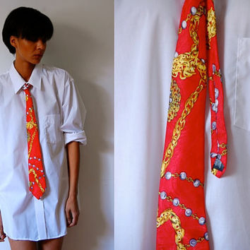 Vtg Gold Chain Baroque Print Red Mens Tie
