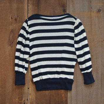Striped Sweater / Black and White Sweater / Stripes / Vintage Sweater / Vintage Blouse / Boat Neck Top