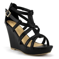Women's Iynx Gladiator Wedge Sandals Fay Black