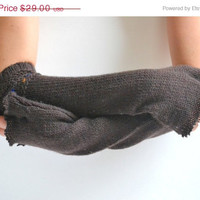 ON SALE Upcycled Sweater Arm Warmers - Long Wool Arm Warmers - OOAK Cozy Long Gloves