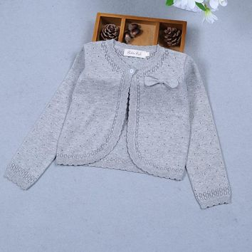 Baby Girls Cardigan Sweater Long Sleeve Gray Bow Cotton Baby Girls Coat For 1 2 Years Old Baby Clothes RKC175024