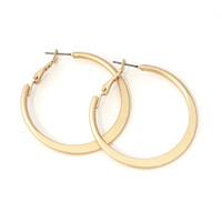 Thinned Out Hoop Earrings In Matte Gold
