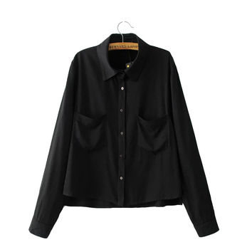 Women elegant casual loose shirts double pockets long sleeve turn down collar work wear blouse European tops blusas LT1364