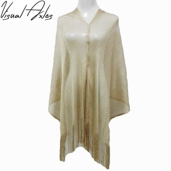 2017 Spring Rock Style Silver Metallic Shiny Fishnet Poncho Scarf Shawl Women Sexy Summer Gold Sequin Fringe Poncho