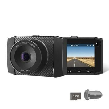 ONETOW YI 2.7K Ultra Dash Cam with 2.7' LCD Screen, 140¡ã Wide Angle Lens, Dual-Core Processor, Voice Control, MEMS 3-axis G-Sensor, and Night Vision (Micro SD Card and Car Charger Included)