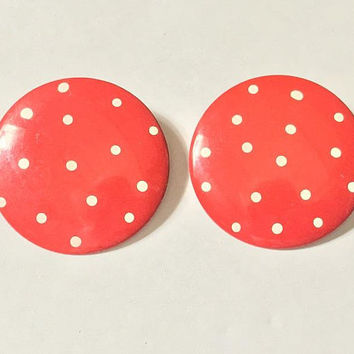 Vtg 60s MOD Red & White Polka Dot Earrings / Oversized Round MCM Post Earrings / Metal and Enamel Circular Earrings / Minnie Mouse Earrings