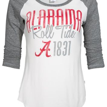 Official NCAA Venley University of Alabama Crimson Tide UA ROLL TIDE! Women's Baseball Raglan T-Shirt