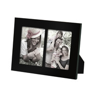 Decorative Black Wood Divided Picture Photo Frame (2 Opening)